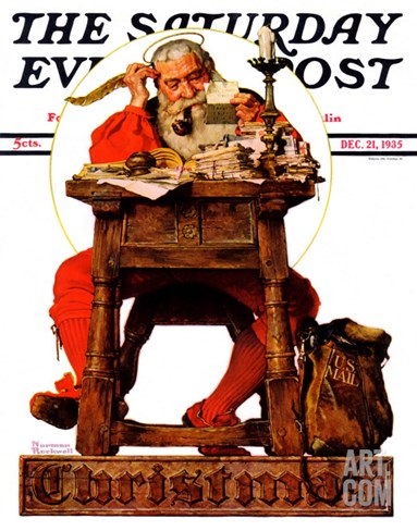 """Santa at His Desk"" Saturday Evening Post Cover, December 21,1935 Stretched Canvas Print"