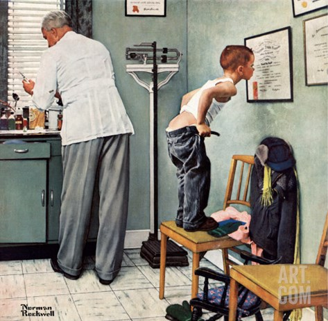 """Before the Shot"" or ""At the Doctor's"" Saturday Evening Post Cover, March 15,1958 Stretched Canvas Print"