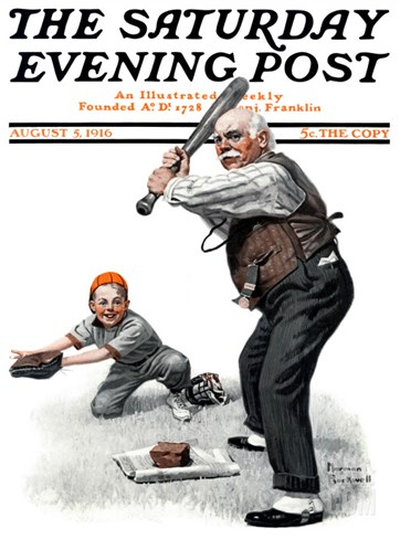 """Gramps at the Plate"" Saturday Evening Post Cover, August 5,1916 Stretched Canvas Print"