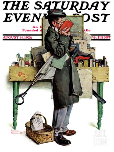 """Bookworm"" Saturday Evening Post Cover, August 14,1926 Stretched Canvas Print"