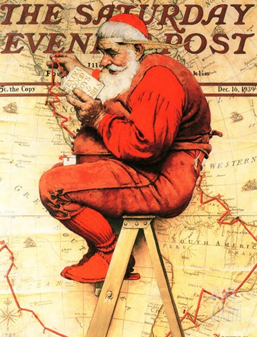 """Santa at the Map"" Saturday Evening Post Cover, December 16,1939 Stretched Canvas Print"