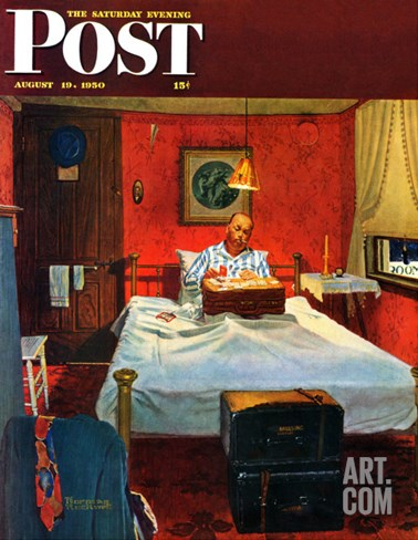 """Solitaire"" Saturday Evening Post Cover, August 19,1950 Stretched Canvas Print"