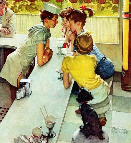"""Soda Jerk"", August 22,1953 Stretched Canvas Print"