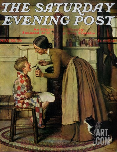 """""""Medicine Giver"""" """"Take Your Medicine"""" Saturday Evening Post Cover, May 30,1936 Stretched Canvas Print"""