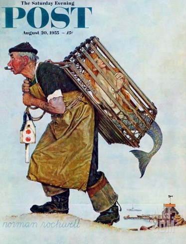 """Mermaid"" or ""Lobsterman"" Saturday Evening Post Cover, August 20,1955 Stretched Canvas Print"