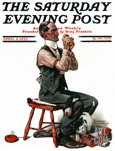 """Threading the Needle"" Saturday Evening Post Cover, April 8,1922 Stretched Canvas Print"