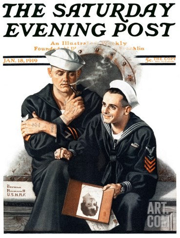 """""""Thinking of the Girl Back Home"""" Saturday Evening Post Cover, January 18,1919 Stretched Canvas Print"""