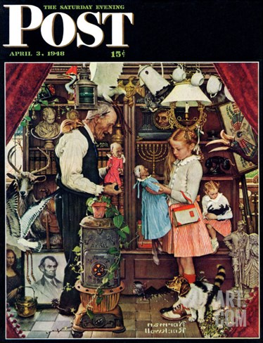 """April Fool, 1948"" Saturday Evening Post Cover, April 3,1948 Stretched Canvas Print"