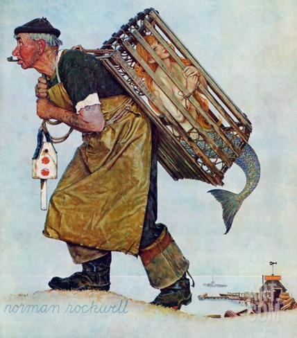 """Mermaid"" or ""Lobsterman"", August 20,1955 Stretched Canvas Print"