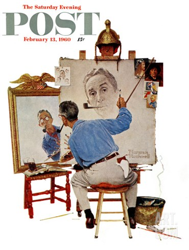 """Triple Self-Portrait"" Saturday Evening Post Cover, February 13,1960 Stretched Canvas Print"