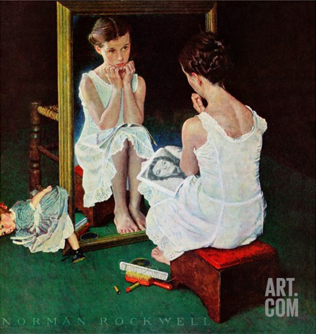 """Girl at the Mirror"", March 6,1954 Stretched Canvas Print"