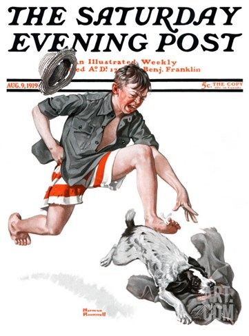 """Runaway Pants"" Saturday Evening Post Cover, August 9,1919 Stretched Canvas Print"