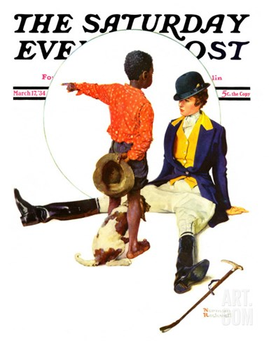 """Thrown from a Horse"" Saturday Evening Post Cover, March 17,1934 Stretched Canvas Print"
