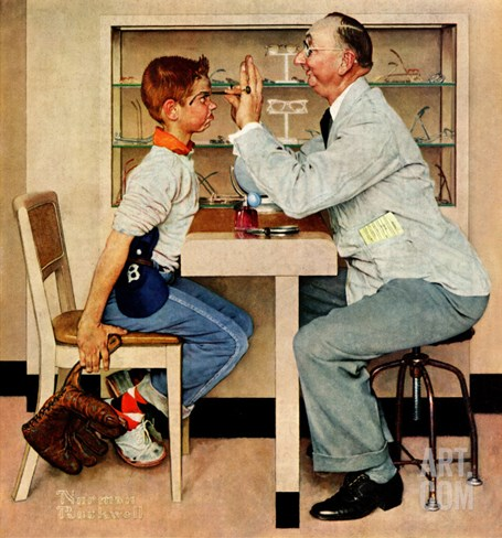 """At the Optometrist"" or ""Eye Doctor"", May 19,1956 Stretched Canvas Print"