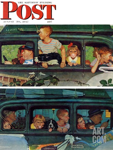 """Outing"" or ""Coming and Going"" Saturday Evening Post Cover, August 30,1947 Stretched Canvas Print"