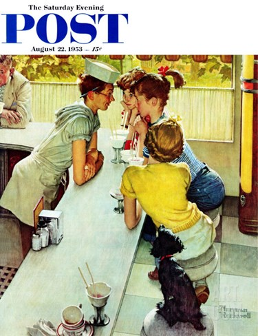 """Soda Jerk"" Saturday Evening Post Cover, August 22,1953 Stretched Canvas Print"