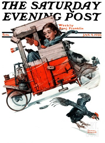 """Look Out Below"" or ""Downhill Daring"" Saturday Evening Post Cover, January 9,1926 Stretched Canvas Print"