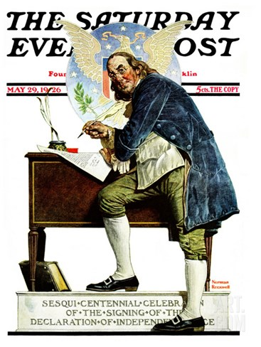 """Independence"" or ""Ben Franklin"" Saturday Evening Post Cover, May 29,1926 Stretched Canvas Print"