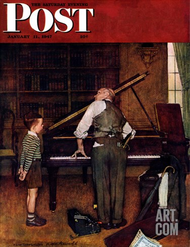 """Piano Tuner"" Saturday Evening Post Cover, January 11,1947 Stretched Canvas Print"