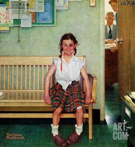 """Shiner"" or ""Outside the Principal's Office"" Saturday Evening Post Cover, May 23,1953 Stretched Canvas Print"
