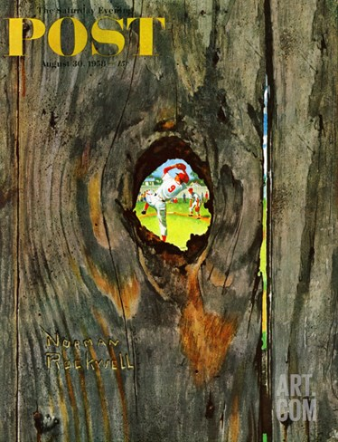 """Knothole Baseball"" Saturday Evening Post Cover, August 30,1958 Stretched Canvas Print"