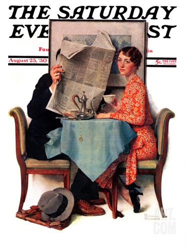 """Breakfast Table"" or ""Behind the Newspaper"" Saturday Evening Post Cover, August 23,1930 Stretched Canvas Print"