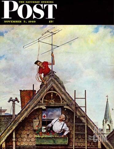"""New T.V. Set"" Saturday Evening Post Cover, November 5,1949 Stretched Canvas Print"