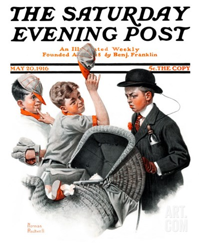 """Baby Carriage"" Saturday Evening Post Cover, May 20,1916 Stretched Canvas Print"