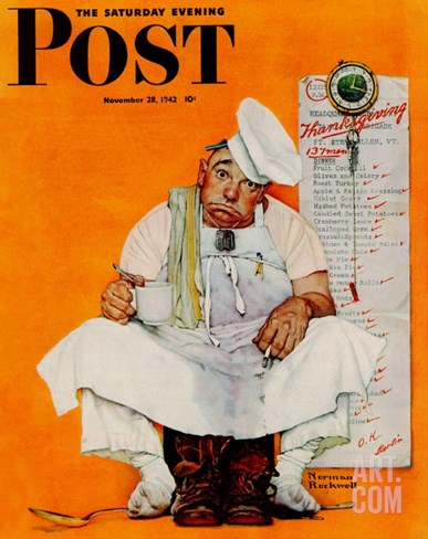 """Thanksgiving Day Blues"" Saturday Evening Post Cover, November 28,1942 Stretched Canvas Print"
