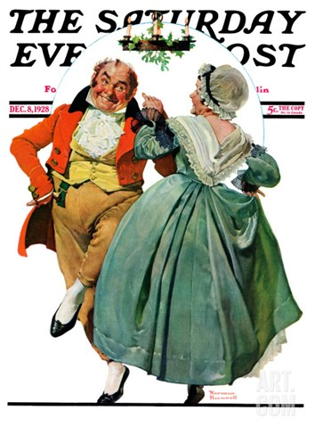 """Christmas Dance"" or ""Merrie Christmas"" Saturday Evening Post Cover, December 8,1928 Stretched Canvas Print"