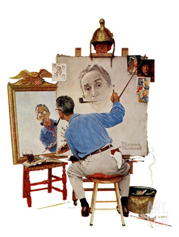 """Triple Self-Portrait"", February 13,1960 Stretched Canvas Print"