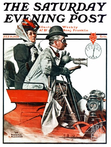 """Speeding Along"" Saturday Evening Post Cover, July 19,1924 Stretched Canvas Print"