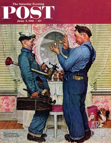 """Plumbers"" Saturday Evening Post Cover, June 2,1951 Stretched Canvas Print"