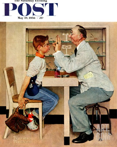"""At the Optometrist"" or ""Eye Doctor"" Saturday Evening Post Cover, May 19,1956 Stretched Canvas Print"