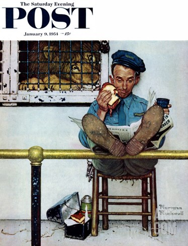 """Lion and His Keeper"" Saturday Evening Post Cover, January 9,1954 Stretched Canvas Print"