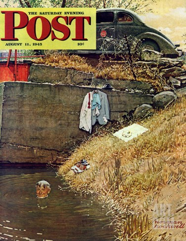 """Swimming Hole"" Saturday Evening Post Cover, August 11,1945 Stretched Canvas Print"