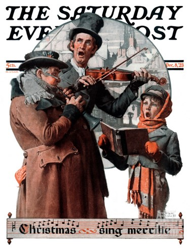 """Christmas Trio"" or ""Sing Merrille"" Saturday Evening Post Cover, December 8,1923 Stretched Canvas Print"