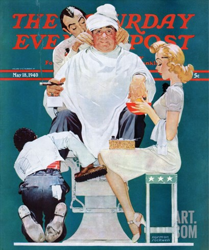 """Full Treatment"" Saturday Evening Post Cover, May 18,1940 Stretched Canvas Print"
