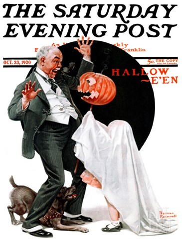 """Halloween"" Saturday Evening Post Cover, October 23,1920 Stretched Canvas Print"