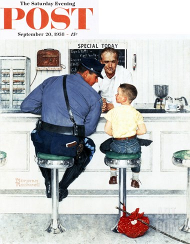 """""""Runaway"""" Saturday Evening Post Cover, September 20,1958 Stretched Canvas Print"""