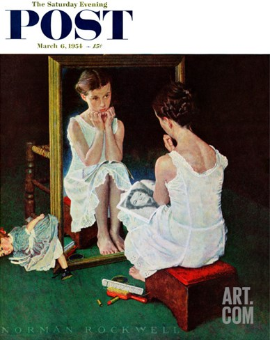 """Girl at the Mirror"" Saturday Evening Post Cover, March 6,1954 Stretched Canvas Print"