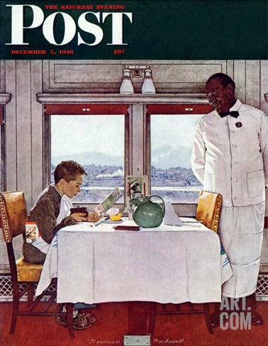 """""""New York Central Diner"""" Saturday Evening Post Cover, December 7,1946 Stretched Canvas Print"""
