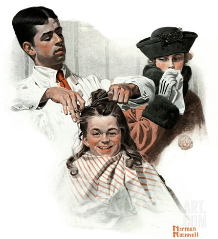 """First Haircut"", August 10,1918 Stretched Canvas Print"