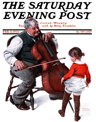 """Grandpa's Little Ballerina"" Saturday Evening Post Cover, February 3,1923 Stretched Canvas Print"