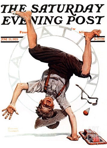 """Summer Vacation, 1923"" Saturday Evening Post Cover, June 23,1923 Stretched Canvas Print"