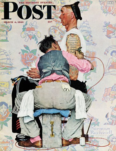 """""""Tattoo Artist"""" Saturday Evening Post Cover, March 4,1944 Stretched Canvas Print"""
