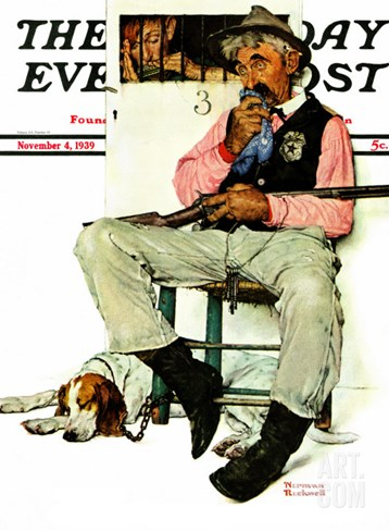 """Sheriff and Prisoner"" Saturday Evening Post Cover, November 4,1939 Stretched Canvas Print"