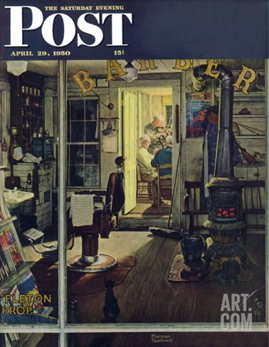 """Shuffleton's Barbershop"" Saturday Evening Post Cover, April 29,1950 Stretched Canvas Print"