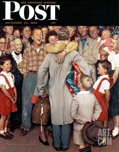 """Christmas Homecoming"" Saturday Evening Post Cover, December 25,1948 Stretched Canvas Print"