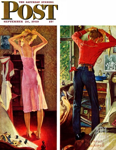 """Before the Date"" Saturday Evening Post Cover, September 24,1949 Stretched Canvas Print"